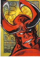 hellboy sketchcard colored by weshoyot