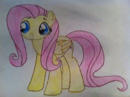 Fluttershy Drawing: Paper and Pencil by TheAgent777