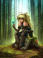 Elven Archer on a stump by RoninDude