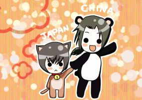 APH : Japan and China Chibi by ChocoHal