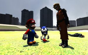 Classic Sonic Meets Naruto And Mario by NikeMan223