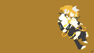 Kagamine Twins (Vocaloid) Minimalist Wallpaper by greenmapple17
