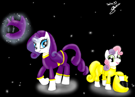 Rarity and Sweetie Belle as Rangers by Sedna93