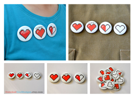 Pixel Heart Pinback Buttons by artshell