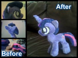 Before and after Plush commission gone wrong. by AkwardFairy