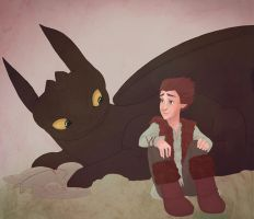 Toothless and Hiccup by RoroZoro