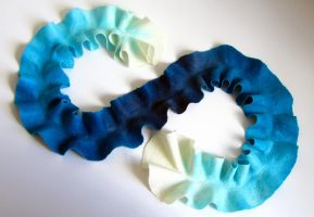 Blue Gradient Ruffle Scarf by HandiCraftKate