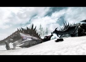Skyrim screenshot: Battle of the dragons by z-zombiecat