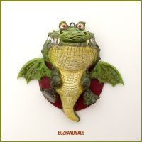 Crocodile Dragon #12 - Polymer Clay Charm by buzhandmade