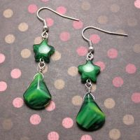 Green Star Drop earrings by lavadragon