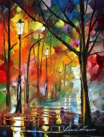 Night alley 4 oil painting on canvas by Leonidafremov