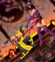 Scorpion Vs Mileena by Mawnbak