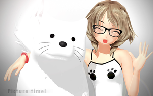 MMD - Haru Misaki and her dog. by MissButtler