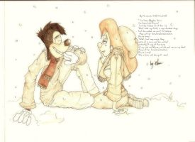 Laughter under the snow_Color Pencile by marvelzombie101