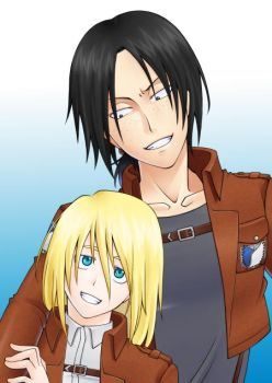 Ymir-san and Krista-chan by shinya-maya