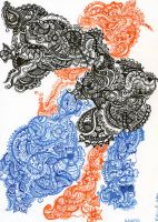 Blue orange and black paisley by Elaneban