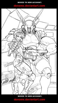Appleseed Pin-up Lineart by dannlord