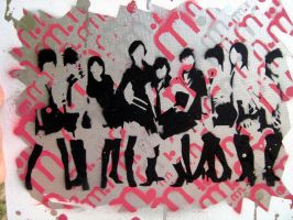Morning Musume stencil art by e-gyaru