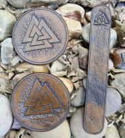 Valknut Coasters and Bookmark by Half-Goat