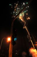 Fireworks and Traffic Lights by ksenosyd