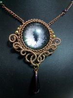 Evening Eye in Brass Coiled Wire with Purple Drop by BacktoEarthCreations