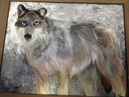 Wolf Practice: Acrylic on Canvas by CONVULS10NS