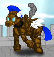 My Steampunk Pony: Power Armour Guard by SteamPoweredStallion