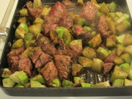 Grilling Lamb and Chayote Squash 2 by Windthin