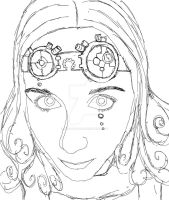 Steampunk Lady - Lineart by D-r-a-y-a-s-h-a