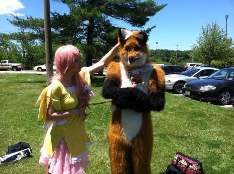 Fluttershy cosplay - Portcon - with fursuit fox by littlebluecutie