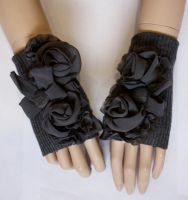 Grey roses romantic mittens I by Pinkabsinthe