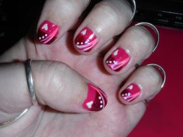 Pink and white nail art design 3 by Amazinadrielle