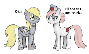 Nurse Redheart and Derpy Hooves by armacasio