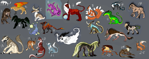 HUGE Unsold Adoptable Auction! CLOSED by Artha-Adopts