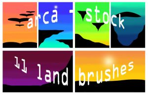 11 land ps cs3 brushes by arca-stock