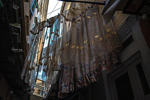 Fancy laundry hanging in Corfu streets by ginavd