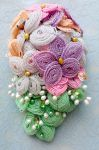 Pastel coloured cascading beaded bouquet by EverAfterDesigns