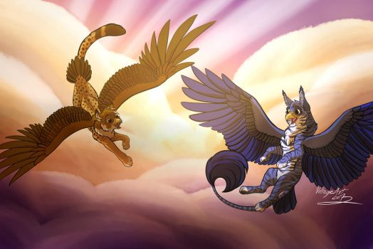Griffins at sunset redraw by Voltage-Art
