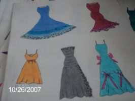 My 1st sketches of dresses by nicole20092002