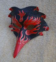 Red Firebird Raven Mask by merimask
