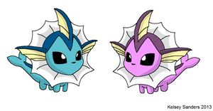 Chibi Vaporeon - Normal and Shiny by KelseyEdward