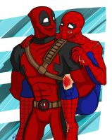 COMMISH- Deadpool_Spider-Man by superhappyvidel