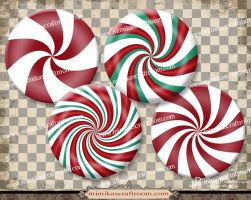 Digital Collage Circles, Round, Christmas by mimikascraftroom