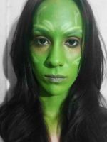 Gamora Guardians of the Galaxy Make up test. by LizetteBlanco