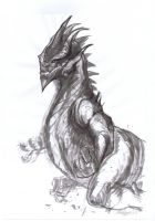 A Lungwurm drawing by Brollonks