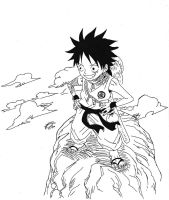Dragonball Z and One piece Crossover - Luffy by TriiGuN