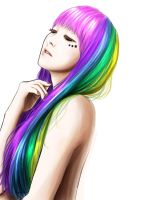 rainbow hair by bachinienie