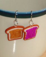 Peanut Butter Jelly Earrings by ClayConnections