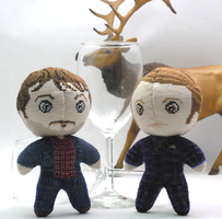 Hannibal and Will Cross Stitch Dolls by rhaben