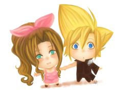 Aerith and Cloud by Saylor-boo